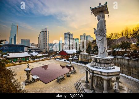 Seoul, South Korea skyline from Bongeunsa Temple. - Stock Photo