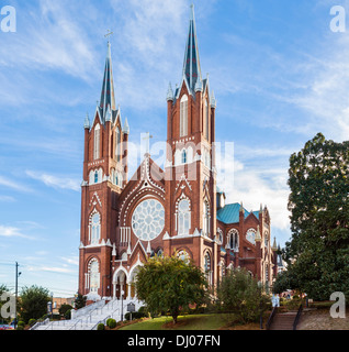 St Joseph Catholic Church on Poplar Street in downtown Macon, Georgia, USA - Stock Photo