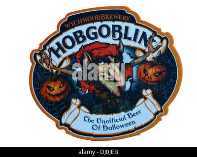 Wychwood brewery Hobgoblin, the unofficial beer of Halloween, beer mat UK - Stock Photo