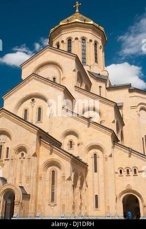 Tsminda Sameba or Holy Trinity Cathedral in Tbilisi, Georgia - Stock Photo