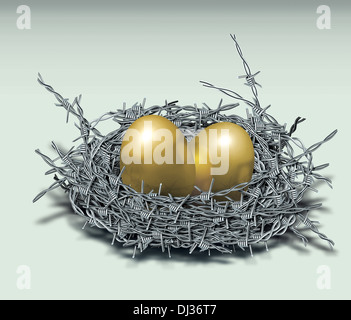 Illustrative image of golden eggs in nest made of barbed wire representing investment protection - Stock Photo