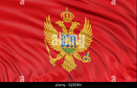 3D Montenegro flag - Stock Photo