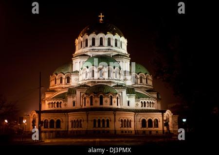 Alexander Nevsky cathedral illuminated at night ( Bulgaria) - Stock Photo