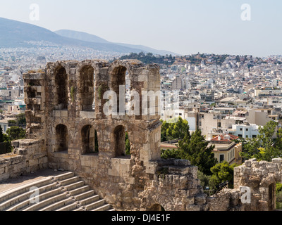 The Odeon of Herodes Atticus amphitheatre from the Acropolis, Athens - with the old ancient Greece city behind - Stock Photo