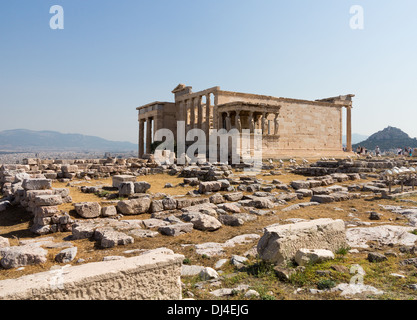 The Erechtheion on the Acropolis in Athens, Greece - South view of Caryatids, ancient Greece - Stock Photo
