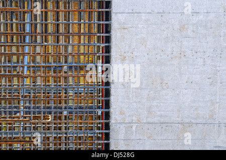 Concrete wall with concrete reinforcement - Stock Photo