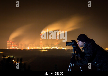 Photographing power plant at night - Belchatow Poland. - Stock Photo