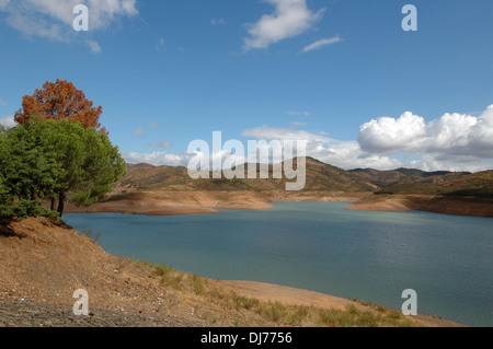 View of the area of Barragem do Arade dam built in the years between 1944 and 1956 near Silves in southern Algarve - Stock Photo