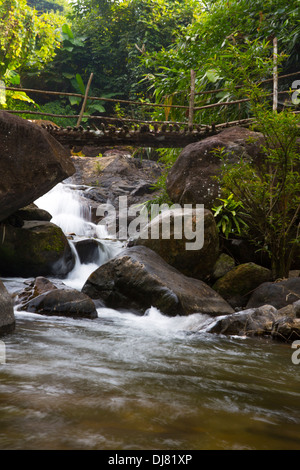 Kaeng Nyui Waterfalls in Vang Vieng, Laos - Stock Photo