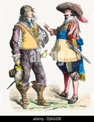 17th century XVII 1638 1640 English soldier (left) Flanders 1640 1650 soldier (right) - Stock Photo