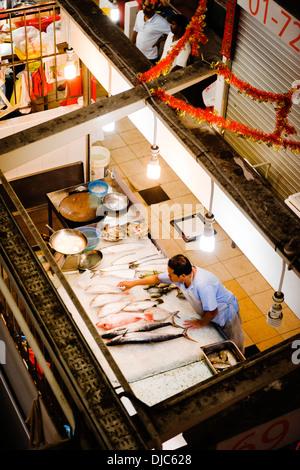 Fish market inside the Tekka Centre in Little India, Singapore. - Stock Photo