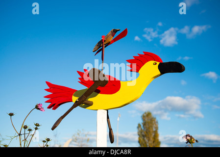 Roadrunner whirligig wind toy, Westham Island Herb Farm, Ladner, British Columbia, Canada - Stock Photo