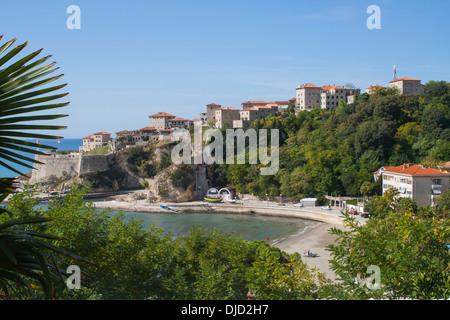 Stari Grad (Old Town) and Mala Plaza (Small Beach), Ulcinj, Montenegro, historically a base for pirates in the Mediterranean - Stock Photo