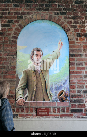 Mural painting of Tom Paine (the author of 'Rights of Man') by Julian Bell, on a wall in Market Passage, Lewes. - Stock Photo