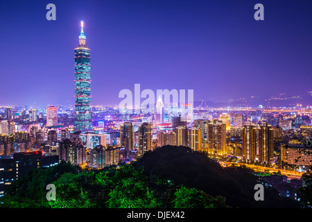 Modern office buildings in Taipei, Taiwan at night. - Stock Photo