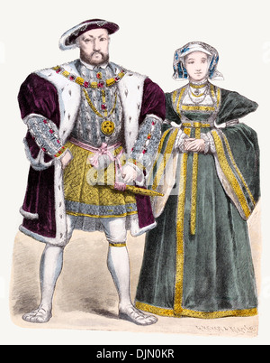 16th Century XVI 1500s England King Henry VIII, Anne of Cleves - Stock Photo
