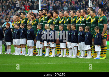 Manchester, UK. 30th Nov, 2013. The New Zealand Team line up before the Rugby League World Cup Final between New - Stock Photo