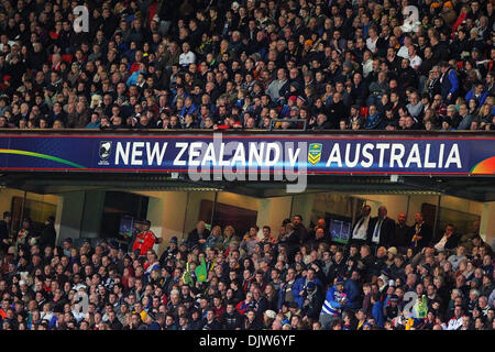 Manchester, UK. 30th Nov, 2013. Australia and New Zealand fans in action during the Rugby League World Cup Final - Stock Photo