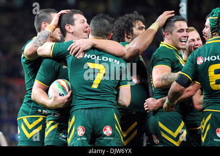 Manchester, UK. 30th Nov, 2013. The Australian players celebrate after winning the Rugby League World Cup Final - Stock Photo