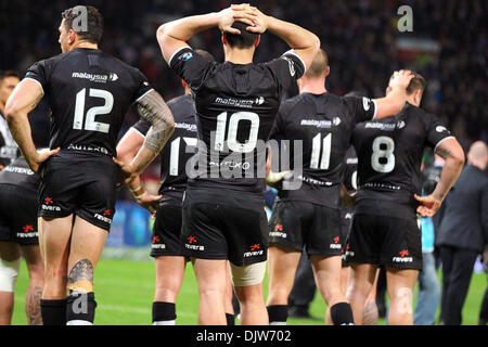 Manchester, UK. 30th Nov, 2013. New Zealand look distraught as they lose the Rugby League World Cup Final between - Stock Photo