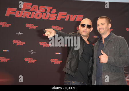 Vin Diesel and Paul Walker on the red carpet for Germany's Premiere of the film 'Fast and Furious Five' at 'Koelner - Stock Photo