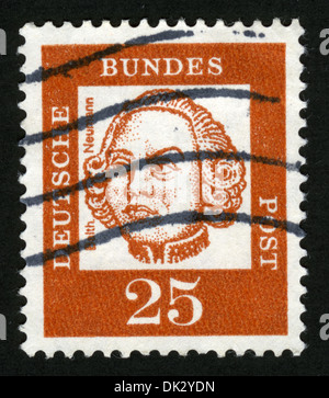 Germany, post mark, stamp, post stamp, portrait,GERMANY - CIRCA 1961: A stamp printed in Germany, shows Johann Balthasar - Stock Photo