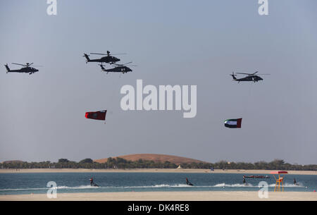Abu Dhabi. 2nd Dec, 2013. Helicopters subject to the air forces of United Arab of Emirates (UAE) perform during - Stock Photo