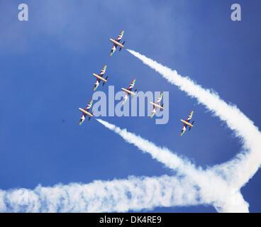 Abu Dhabi. 2nd Dec, 2013. Members of Al Fursan, or the Knights, the UAE Aerobatic Display Team perform during a - Stock Photo
