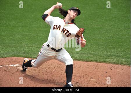 June 11, 2011 - San Francisco, California, U.S. - San Francisco Giants starting pitcher TIM LINCECUM (55) pitches - Stock Photo