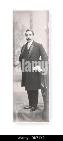 Antique Portrait of a gentleman. Photography Studio. Vintage. 1900s. Dress Groom - Stock Photo