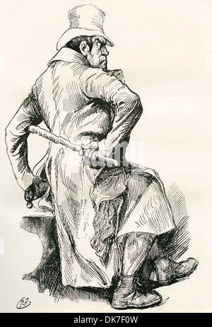 Bill Sikes. Illustration by Harry Furniss for the Charles Dickens novel Oliver Twist. - Stock Photo