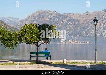 Montenegro, Adriatic coast, Kotor Bay, man looking out at the fjord at Kotor - Stock Photo