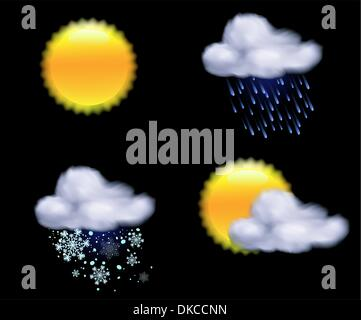 Vector illustration of cool weather icons - Stock Photo