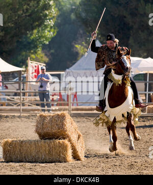 Oct. 22, 2011 - Poway, California, USA - The skills required for hunting game on horseback are displayed in an exhibition - Stock Photo