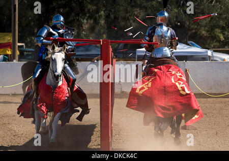 Oct. 22, 2011 - Poway, California, U.S. -  Breakaway lances shatter during the Fifth Annual Tournament of the Phoenix - Stock Photo