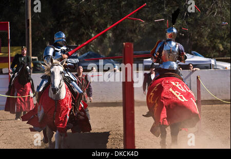 Oct. 22, 2011 - Poway, California, USA -  Breakaway lances shatter during the Fifth Annual Tournament of the Phoenix - Stock Photo