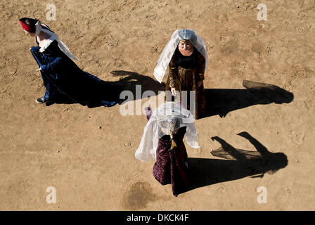 Oct. 22, 2011 - Poway, California, USA -  Ladies await the start of the joust at the Fifth Annual Tournament of - Stock Photo