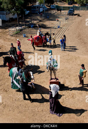 Oct. 22, 2011 - Poway, California, USA -  A knight waits to mount his steed at the Fifth Annual Tournament of the - Stock Photo