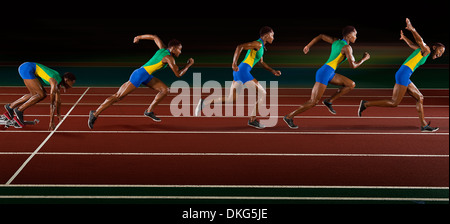 Multi exposure of young woman in sprint sequence - Stock Photo