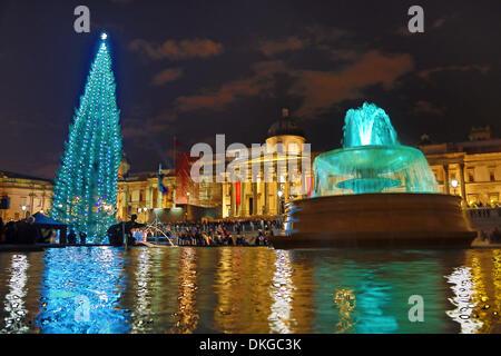 London, UK. 5th December 2013. Trafalgar Square Christmas Tree lights switched on, London, England Credit:  Paul - Stock Photo