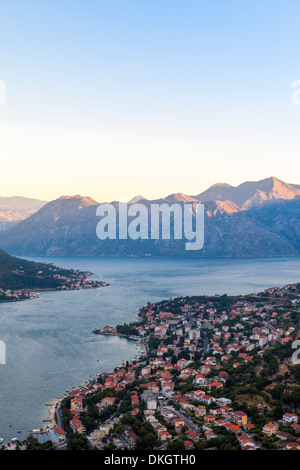 Kotor at dawn, Bay of Kotor, UNESCO World Heritage Site, Montenegro, Europe - Stock Photo