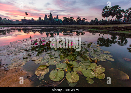 Sunrise over Angkor Wat, Angkor, UNESCO World Heritage Site, Siem Reap Province, Cambodia, Indochina, Southeast - Stock Photo