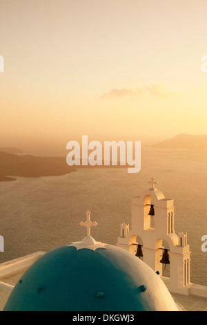 St. Gerasimos Church with blue dome at sunset, Firostefani, Santorini, Cyclades, Aegean Sea, Greek Islands, Greece, - Stock Photo