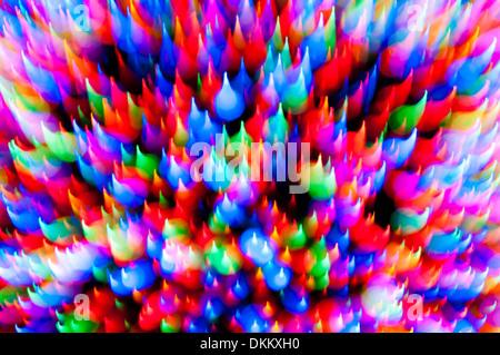 Christmas tree lights motion-blur abstract - Stock Photo