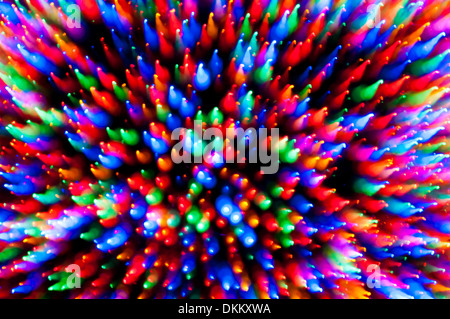 Christmas tree lights motion blur zoom abstract - Stock Photo