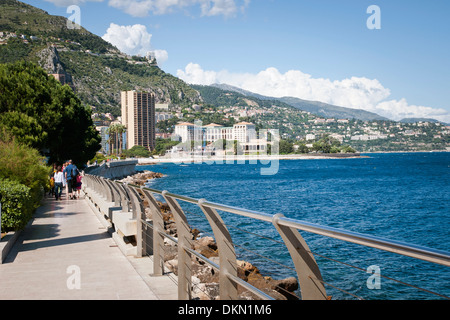 Seaside promenade, Monaco, waterfront, sovereign city-state, French Riviera, Western Europe. - Stock Photo