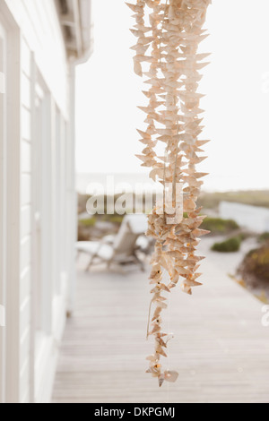 Strand of shells hanging on patio - Stock Photo