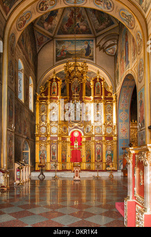Interior of the cathedral in St. Michael's Golden-Domed Monastery in Kiev, the capital of Ukraine. - Stock Photo