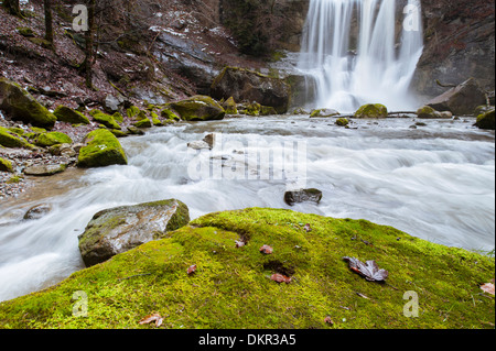 Alps Appenzell AR Ausserrhoden Europe autumn Höchfall scenery landscape nature gulch Switzerland valley Teufen Tobel - Stock Photo