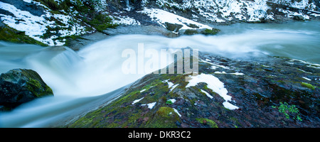 Alps Appenzell AR Ausserrhoden Europe Goldach border border river canton Saint Gall panorama white snow Switzerland - Stock Photo